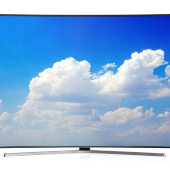 Curved TV isolated on white.