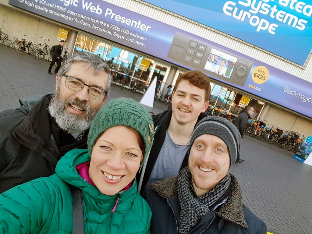 The Drake Team (Helen, Ian, Ben and Dan) standing outside ISE 2018